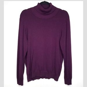 Andrew Marc Cowl Turtleneck Sweater Plum Purple XL